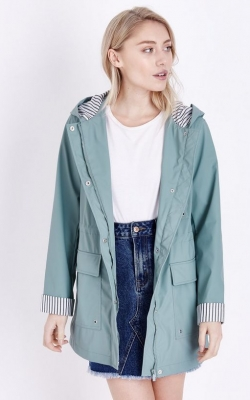 New Look Petite Mint Green Stripe Lined Anorak