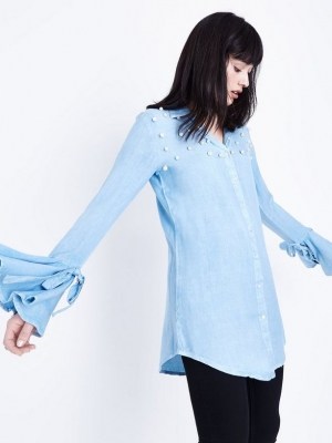 New Look QED Bright Blue Pearl Embellished Shirt