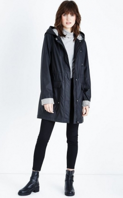 New Look Tall Black Stripe Lined Anorak