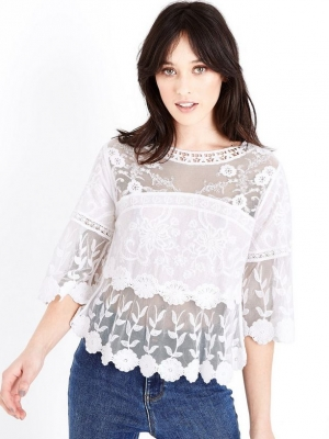 New Look White Crochet Mesh Scallop Hem Smock Top