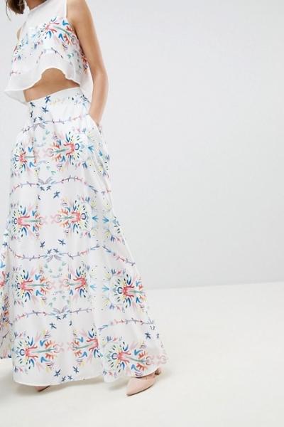 Sabina Musayev Abstract Floral Maxi Skirt
