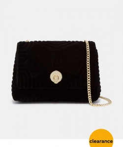 Ted Baker Velvet Quilted Bow Chain Strap Crossbody