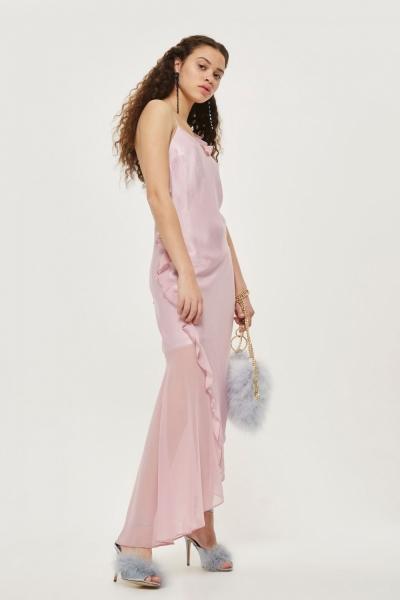 Topshop Asymmetric Frill Maxi Dress