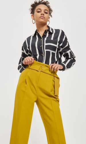 Topshop Belted Tapered Trousers