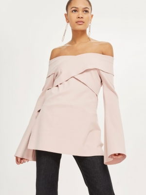 Topshop Cut Out Bardot Tunic Top