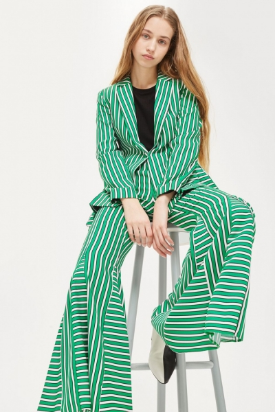 Topshop Green Striped Suit