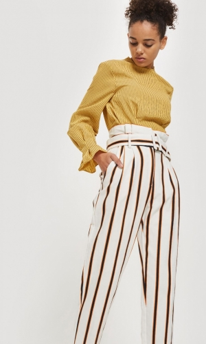 Topshop Multi Coloured Stripe Tapered Trousers