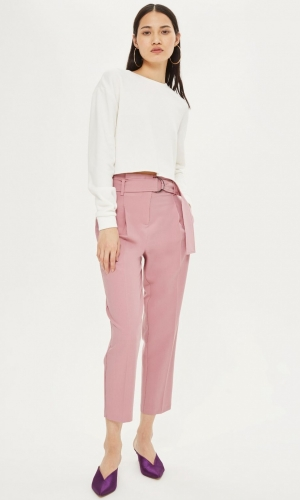 Topshop Pink Belted Peg Trousers