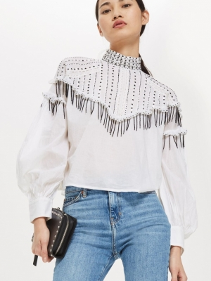 Topshop Sequin Smock Blouse
