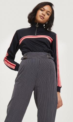 Topshop Stripe Tapered Trousers