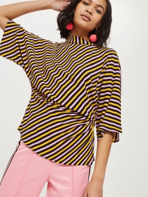 Topshop Striped Tuck Waist Blouse