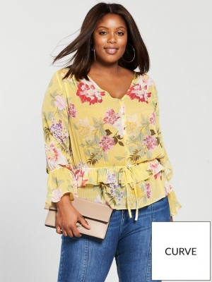 V By Very Curve Gathered Waist Blouse Floral Print