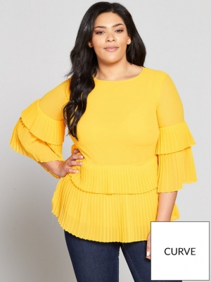 V By Very Curve Pleated Hem Blouse