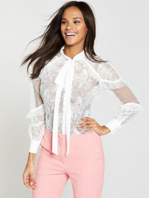 V By Very Lace Tie Neck Blouse