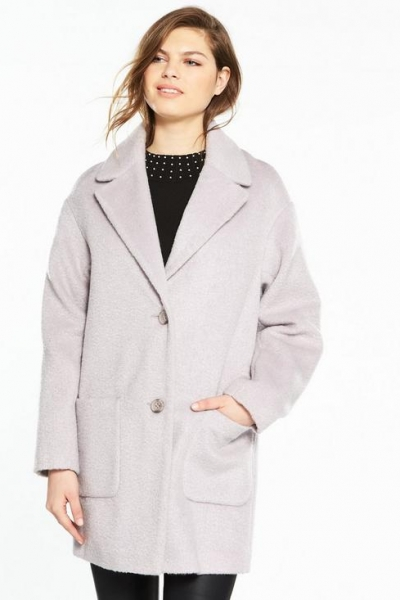 Very Oversized Texture Coat Pale Lilac