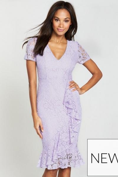 Very Wrap Lace Pencil Dress