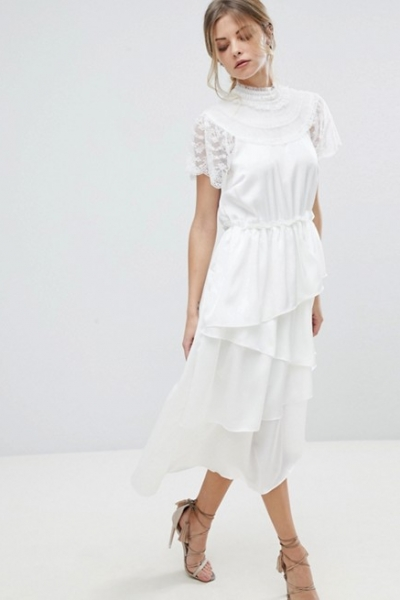 Y A S High Neck Lace Midi Dress With Asymetric Hem
