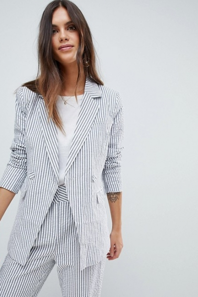 Y A S Stripe Summer Double Breasted Blazer Co Ord