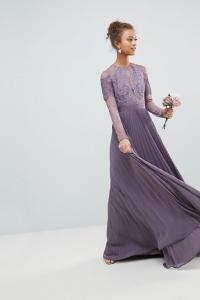 ASOS Bridesmaid Long Sleeve Lace Pleated Maxi Dress