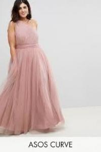ASOS CURVE PREMIUM Tulle One Shoulder Maxi Dress