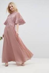 ASOS DESIGN Bridesmaid Lace Applique Flutter Sleeve Maxi Dress