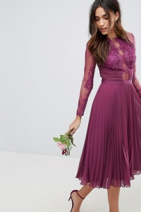 ASOS DESIGN Bridesmaid Midi Dress With Lace Sleeves And Eyelash Lace