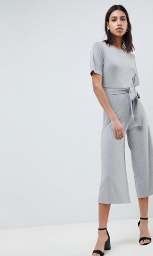 ASOS DESIGN Jersey Jumpsuit With Tie Waist And Culotte Leg
