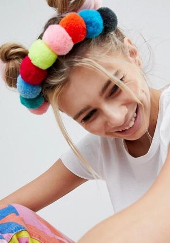 ASOS DESIGN Multicolour Pom Pom Headband