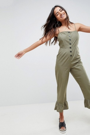 ASOS DESIGN Cotton Frill Hem Jumpsuit With Square Neck And Button Detail
