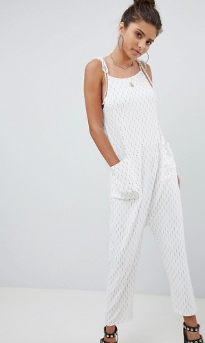 ASOS DESIGN Jersey Minimal Jumpsuit With Ties In Arrow Print