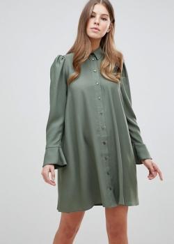 ASOS DESIGN Long Sleeve Mini Shirt Dress