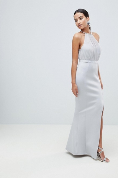 ASOS DESIGN Pearl Trim Halter Fishtail Maxi Dress