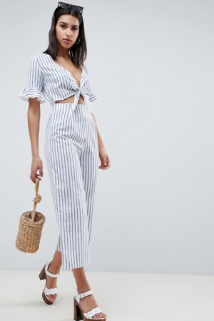 ASOS DESIGN Tea Jumpsuit With Cut Out And Tie Detail In Linen In Stripe