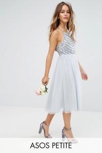 ASOS Design Petite Bridesmaid Delicate Beaded Strappy Back Midi Dress