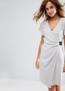 ASOS Drape Front Midi Pencil Dress With Elastic Detail
