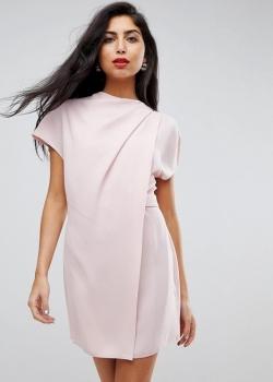 ASOS Drape Front Tab Side Mini Dress