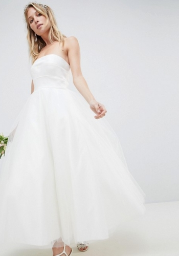 ASOS EDITION Bandeau Prom Midi Wedding Dress