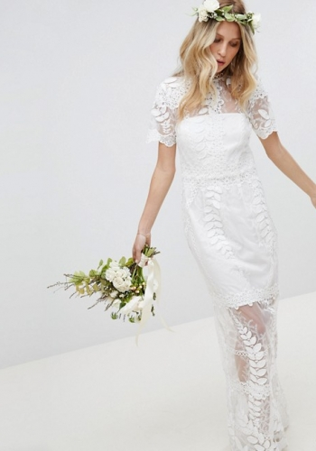 ASOS EDITION Corded Lace Maxi Wedding Dress With Scallop Hem