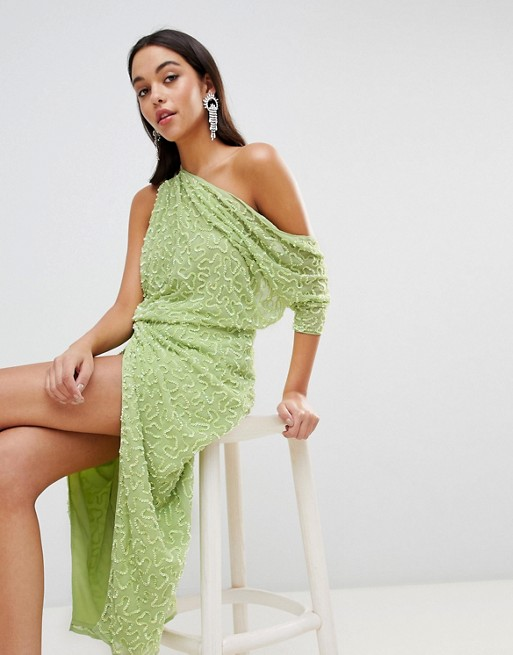 ASOS EDITION One Shoulder All Over Sequin Midi Dress