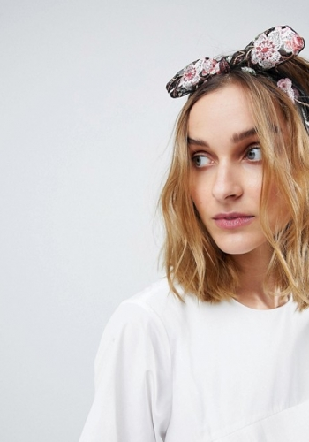 ASOS Embroidered Floral Knot Bow Headband