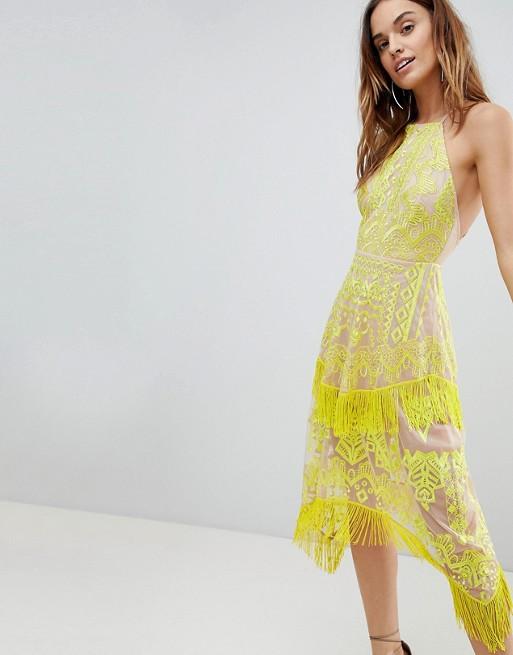 ASOS Embroidered Square Neck Fringe Hem Midi Dress