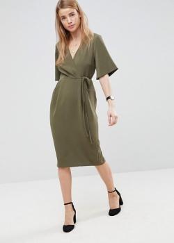 ASOS Midi Wrap Dress With Tie Detail Khaki