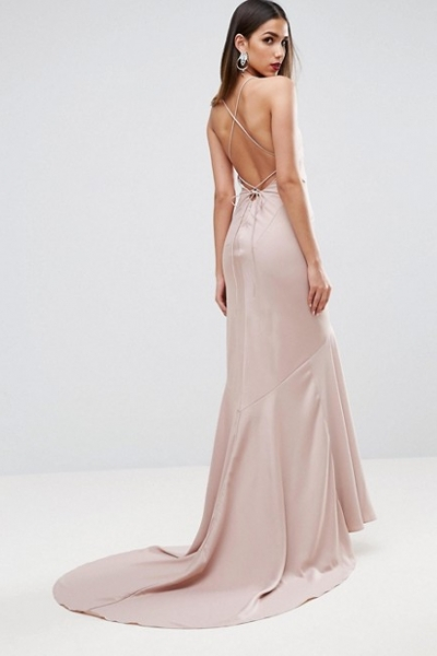 ASOS RED CARPET Deep Plunge Fishtail Maxi