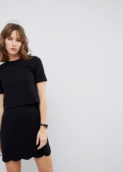 ASOS Scalloped Hem Mini Dress With Crop Top
