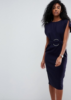 ASOS Split Sleeve Cap Sleeve Midi Dress With Circle Belt