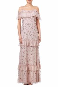 Adrianna Papell Beaded Long Dress Blush
