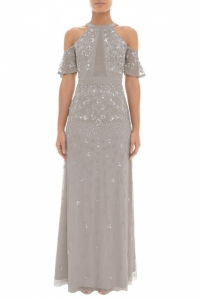 Adrianna Papell Cold Shoulder Bead Dress