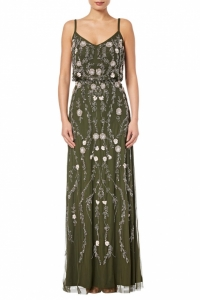 Adrianna Papell Floral Bead Blouson Gown