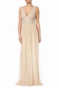 Adrianna Papell Plus Beaded V Neck Dress, Champagne