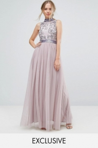 Amelia Rose Embellished Maxi Dress With Tulle Skirt